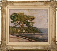 litorale con albero, santa margarita ligure (shoreline with tree, santa margarita ligure) [sold] by arturo tosi